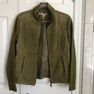 Green mixed fabric zip up